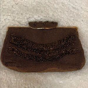 Magid Hand Beaded Circa 1950 Brown & Gold Clutch